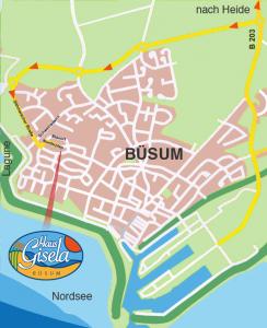 Anfahrt zu den Ferienwohnungen von Haus Gisela in Büsum